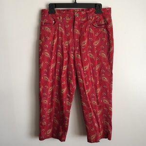 Lauren Ralph Lauren Red Paisley Capri Pants